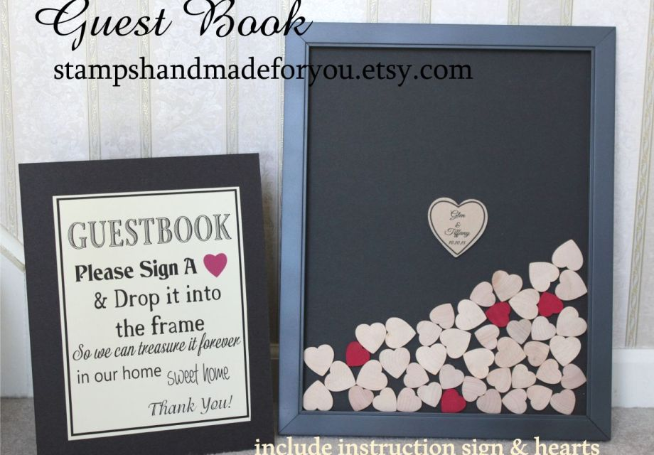 Wedding Guest book Drop me a Heart Alternative for a Rustic Wedding ...